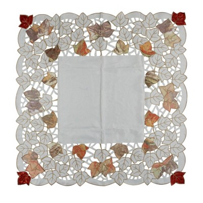 "Heritage Lace 34"" Gray and White Embroidered Fall Leaf Table Cloth Placemat Thanksgiving Decoration"