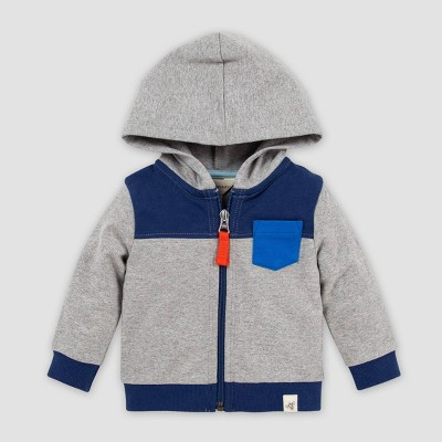 Burt's Bees Baby® Baby Boys' Organic Cotton French Terry Colorblocked Zip Hoodie - Gray 6-9M