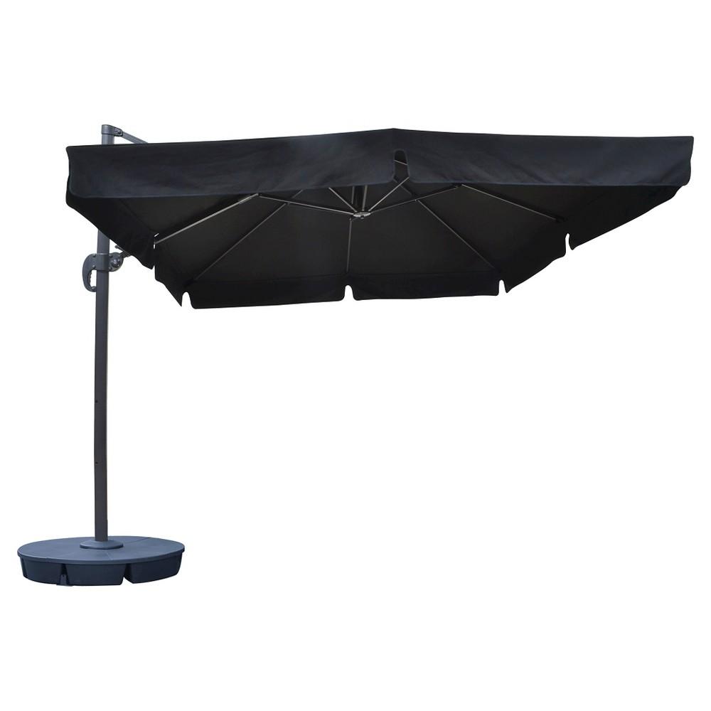Image of Island Umbrella Santorini II 10' Square Cantilever Umbrella With Valance in Black Sunbrella, Black With Valance