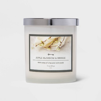 11oz Lidded Milky Glass Jar Apple Blossom and Breeze Candle - Threshold™