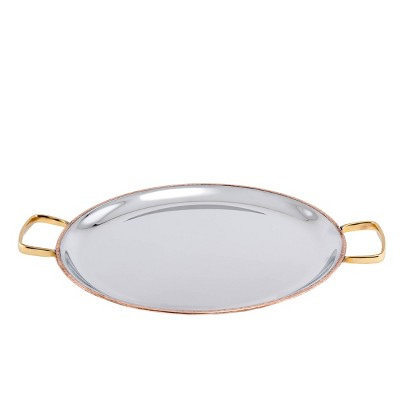 """Old Dutch 11"""" Stainless Steel Embossed Bar Tray with Brass Handles"""