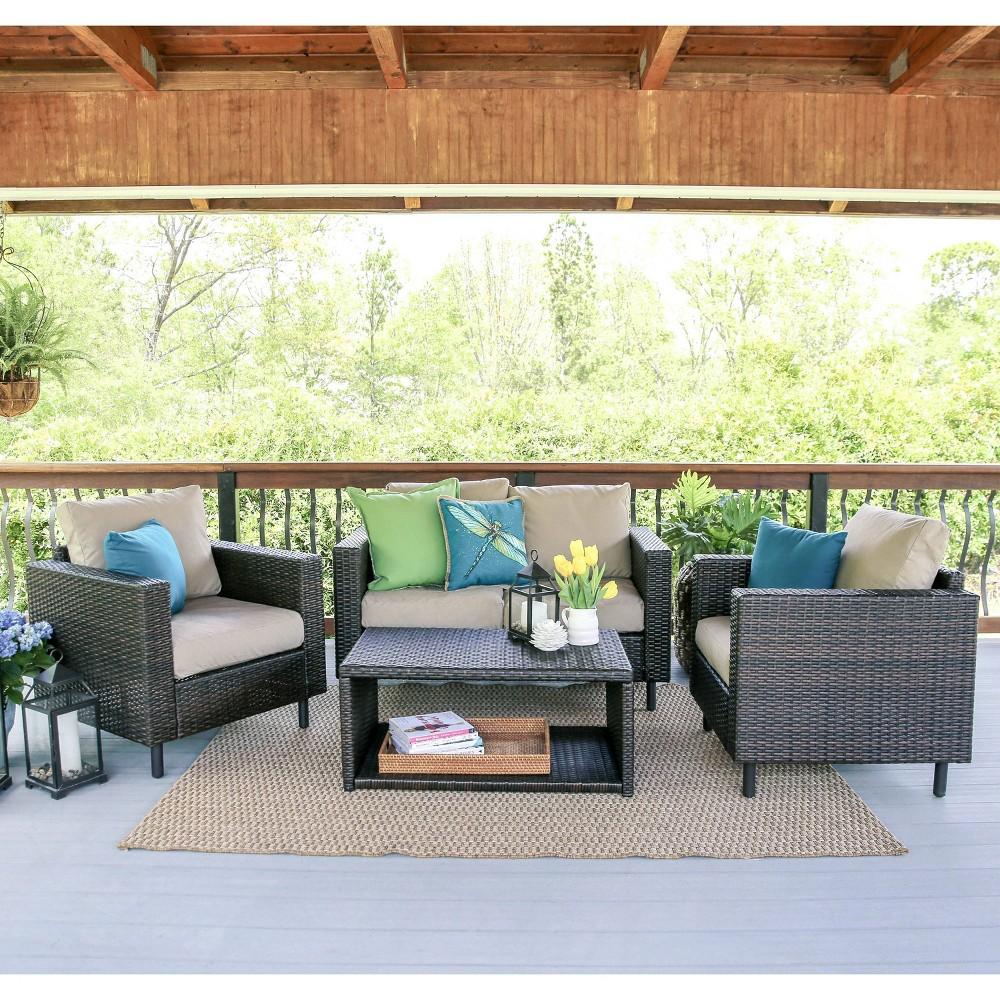 Draper 4pc Patio Seating Set with Sunbrella Fabric - Tan - Leisure Made