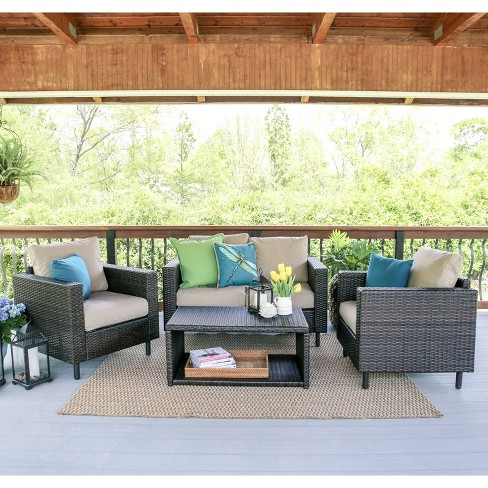 Draper 4pc Patio Seating Set with Sunbrella Fabric - Tan - Leisure Made - image 1 of 7