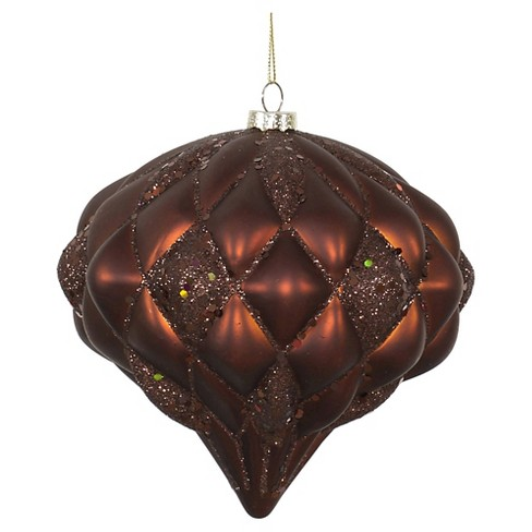 "6"" Copper Matte/Glitter Diamond Christmas Ornament - image 1 of 1"