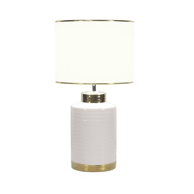 """15"""" x 24"""" Large Contemporary Style Round Ceramic Table Lamp with Metallic Trim White/Gold - CosmoLiving by Cosmopolitan"""
