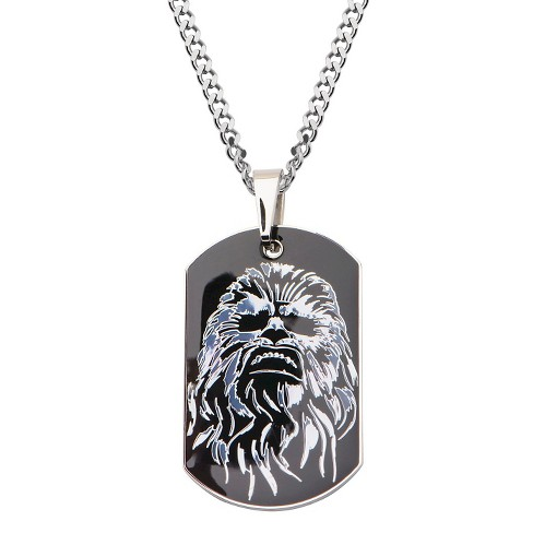 "Men's Star Wars Chewbacca Stainless Steel Dog Tag Pendant with Chain - Black (22"") - image 1 of 2"
