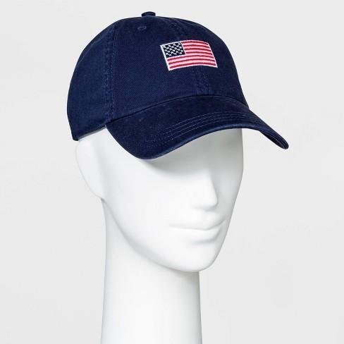 Adult USA Flag Baseball Cap - Blue One Size - image 1 of 2