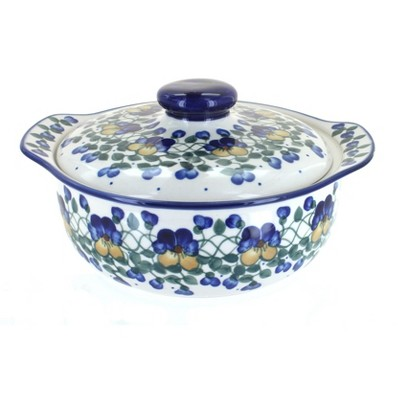 Blue Rose Polish Pottery Pansies Round Covered Baker