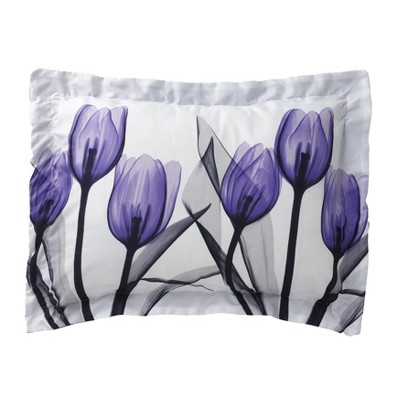 Lakeside Floral Purple Tulips Standard Size Pillow Sham - Spring Home Accent