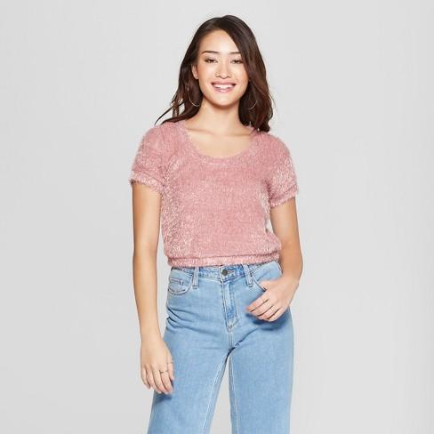 1db6b5e94451c0 Women s Short Sleeve Fuzzy Crop Sweater T-Shirt - Soul Cake (Juniors ) Mauve
