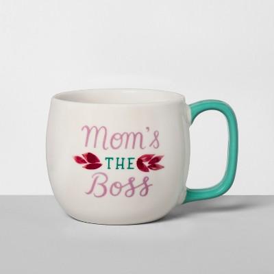 Porcelain Mom's The Boss Mug 16oz White/Green - Threshold™