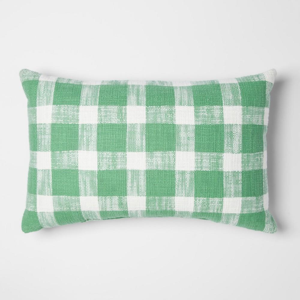 Green Gingham Lumbar Throw Pillow - Threshold