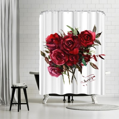 "Americanflat Deep Red Burgundy Roses by Suren Nersisyan 71"" x 74"" Shower Curtain"