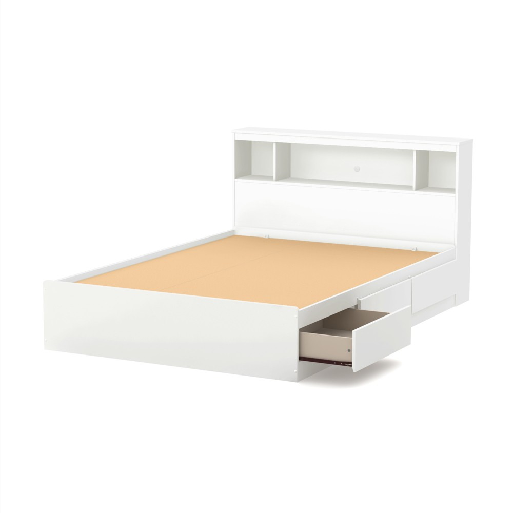 Full Reevo Full Mates Bed with Bookcase Headboard Set Pure White - South Shore
