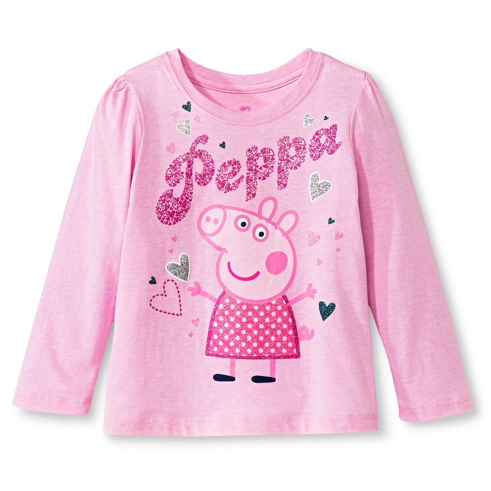 Toddler Girls' Peppa Pig Long Sleeve T-Shirt - Pink 2T