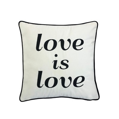 Love Is Love  Embroidered Poly Velvet Square Throw Pillow White - Edie@Home