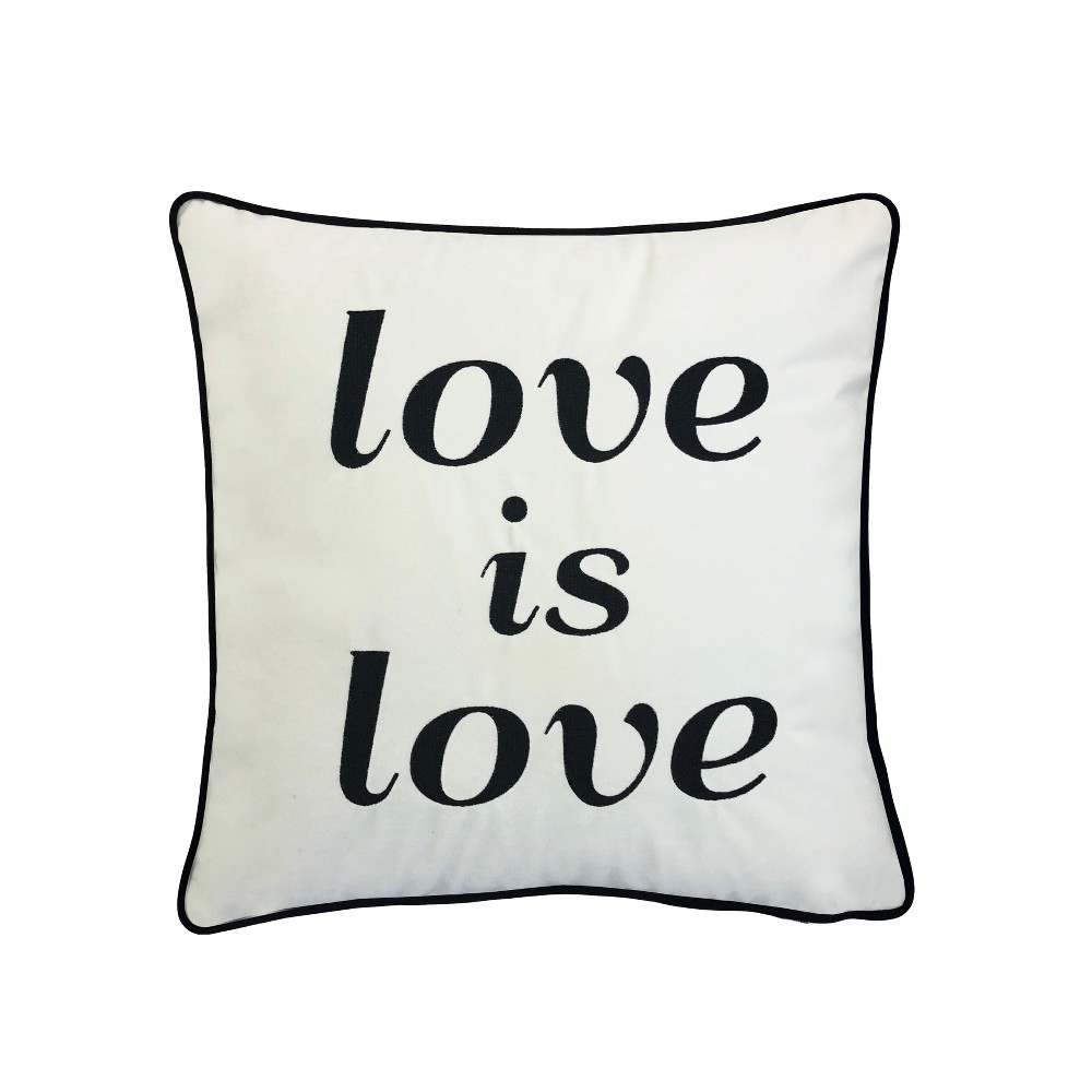 Image of 'Love Is Love' Embroidered Poly Velvet Square Throw Pillow White - Edie@Home