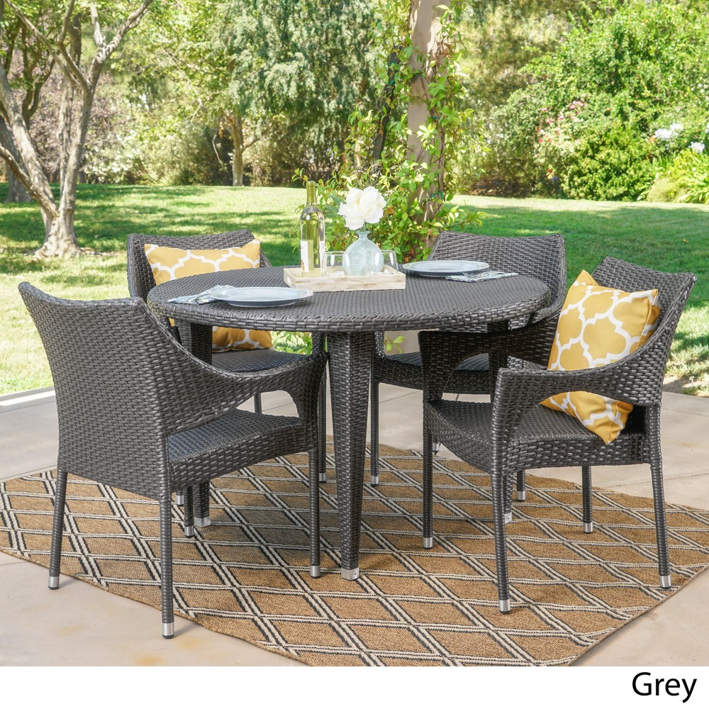 Rincon 5pc Wicker Dining Set - Gray - Christopher Knight Home