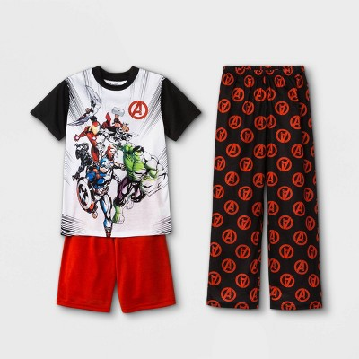 Boys' Marvel Avengers 3pc Pajama Set - White/Black