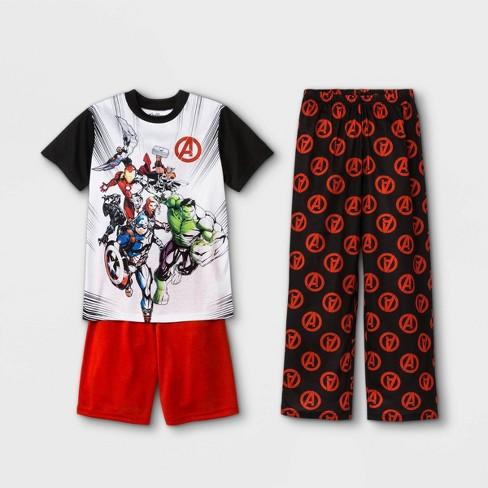 Boys' Marvel Avengers 3pc Pajama Set - White/Black - image 1 of 1