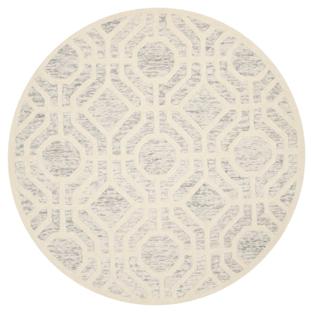 Light Gray/Ivory Geometric Tufted Round Area Rug - (6' Round) - Safavieh