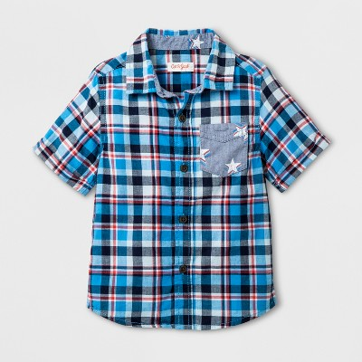 Toddler Boys' Short Sleeve Button-Down Shirt - Cat & Jack™ Blue 12M