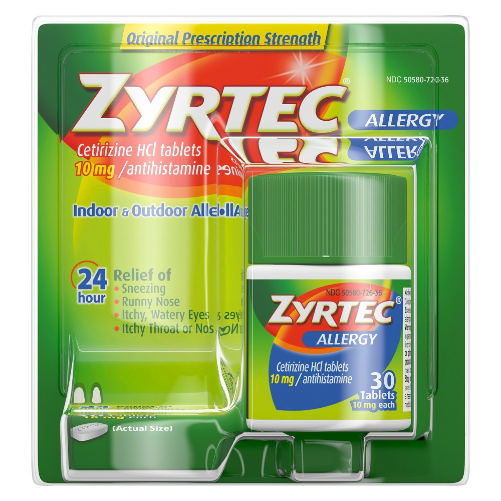 Zyrtec 24 Hour Allergy Relief Tablets Cetirizine Hcl 30ct