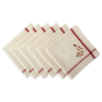 Set of 6 Embroidered Fall Leaves Bordered Napkins Natural - Design Imports