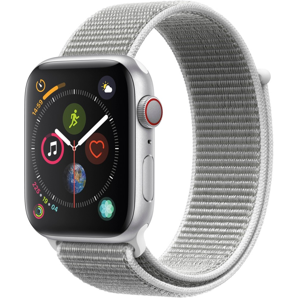 Apple Watch Series 4 Gps & Cellular 44mm Silver Aluminum Case with Sport Loop - Seashell, Seashell Sport Loop Fundamentally redesigned and reengineered. The largest Apple Watch display yet. Built-in electrical heart sensor. New Digital Crown with haptic feedback. Low and high heart rate notifications. Fall detection and Emergency Sos. New Breathe watch faces. Automatic workout detection. New yoga and hiking workouts. Advanced features for runners like cadence and pace alerts. New head-to-head competitions. Activity sharing with friends. Personalized coaching. Monthly challenges and achievement awards. Built-in cellular lets you use Walkie-Talkie, make phone calls, and send messages. Stream Apple Music and Apple Podcasts. And use Siri in all-new ways—even while you're away from your phone. With Apple Watch Series 4, you can do it all with just your watch. Selection may vary; see a sales associate for available models. Apple Watch Series 4 (Gps + Cellular) requires an iPhone 6 or later with iOS 12 or later. Wireless service plan required for cellular service. Apple Watch and iPhone service provider must be the same. Not all service providers support enterprise accounts; check with your employer and service provider. Roaming is not available outside your carrier network coverage area. Contact your service provider for more details. Apple Music requires a subscription. Compared with the previous generation. Iso standard 22810:2010. Appropriate for shallow-water activities like swimming. Submersion below shallow depth and high-velocity water activities not recommended. Color: Seashell Sport Loop.