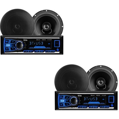 BOSS Audio Systems 638BCK Single Din Bluetooth DM Receiver Bundle Car Stereo Pack with 2 6.5-Inch Full-Range Speakers, Black (2 Pack)