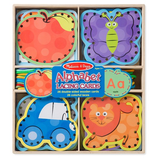 Melissa & Doug Alphabet Wooden Lacing Cards With Double-Sided Panels and Matching Laces image number null
