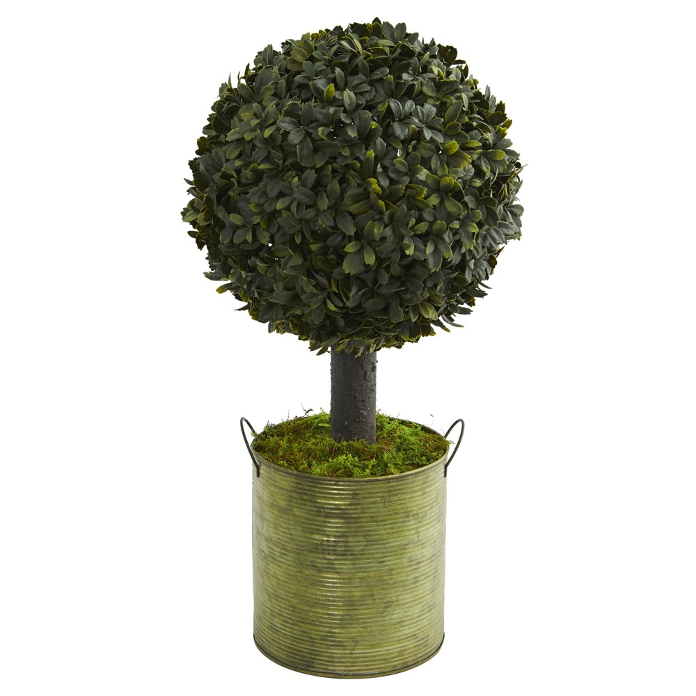 Image of 1.5' Boxwood Ball Topiary Artificial Tree In Green Tin - Nearly Natural
