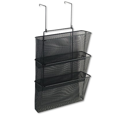 Fellowes Mesh Partition Additions Three-File Pocket Organizer 12 5/8 x 16 3/4 Black 75901