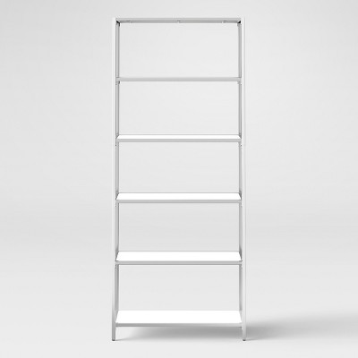 Ronchamp 72  High Gloss And Chrome Tall Bookcase - White - Project 62™