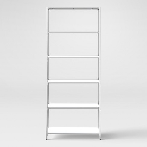 "Ronchamp 72"" High Gloss And Chrome Tall Bookcase - White - Project 62™ - image 1 of 3"