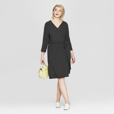 682d3410ffcc1a Women s Plus Size Polka Dot 3 4 Sleeve Wrap Midi Dress - Ava   Viv