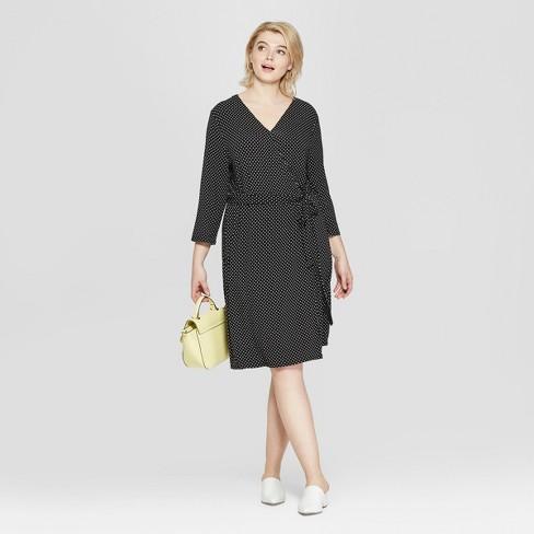 fc50d47a1eda Women's Plus Size Polka Dot 3/4 Sleeve Wrap Midi Dress - Ava & Viv™ Black/White  : Target