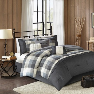 Gray 7pc Herringbone Comforter Bedding Set with Bedskirt and Decorative Pillows - Warren