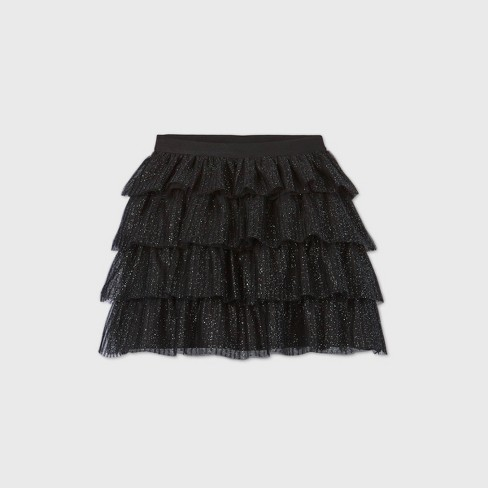 Girls' Sparkle Skirt - Cat & Jack™ Black - image 1 of 2