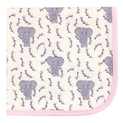 Touched by Nature Baby Girl Organic Cotton Swaddle, Receiving and Multi-purpose Blanket, Pink Elephant, One Size