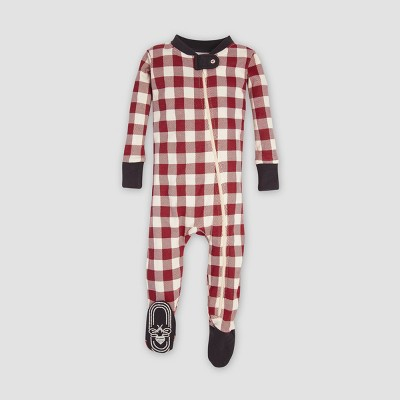 Burt's Bees Baby® Organic Cotton Buffalo Check Footed Pajama - Cranberry 12M