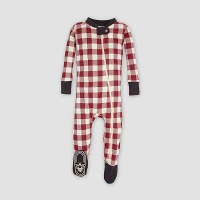 Burt's Bees Baby® Organic Cotton Buffalo Check Footed Pajama - Cranberry 0-3M
