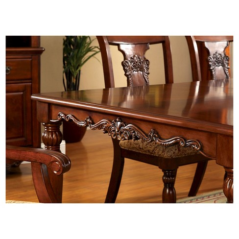 Sun & pine intricate wood carved design dining table wood dark oak