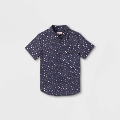 Toddler Boys' Floral Print Woven Short Sleeve Button-Down Shirt - Cat & Jack™ Navy