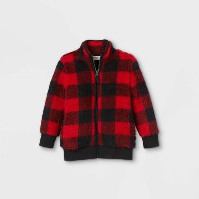 Toddler Boys' Buffalo Check Stand Collar Fleece Zip-Up Sweatshirt - Cat & Jack™