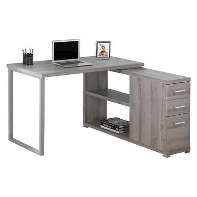 Computer Desk With Facing Corner   Dark Taupe   EveryRoom