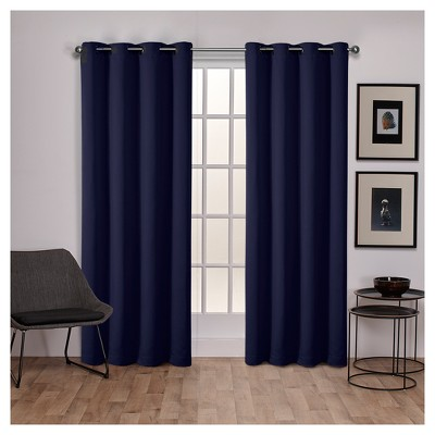 Set of 2 Sateen Twill Weave Insulated Blackout Grommet Top Window Curtain Panels - Exclusive Home