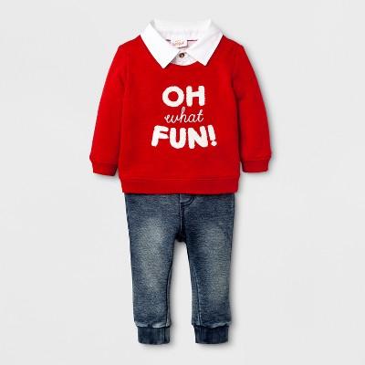 Baby Boys' 2- Piece French Terry Sweater and Denim Jogger Set - Cat & Jack™ Red/ Denim Newborn