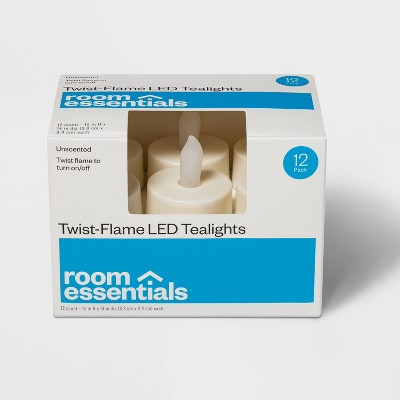 12ct Twist-Flame LED Tealight Candles (Cream) - Room Essentials™