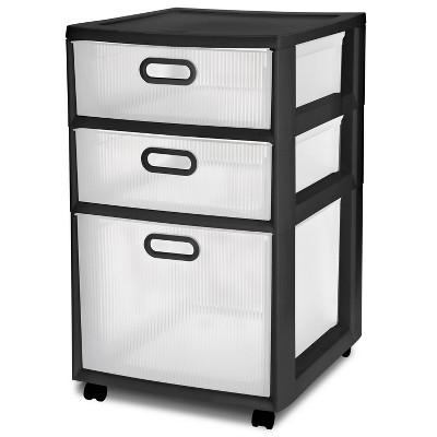 Sterilite Ultra 3 Drawer Storage Cart Black